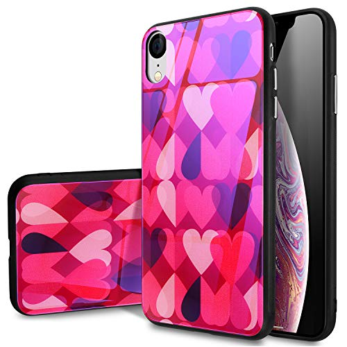 iPhone Xr Case,SQMCase 9H Tempered Glass Back Cover[Scratch-Resistant] with Lovely Heart Pattern + Soft Silicone Bumper [Shock Absorption] Case for Apple iPhone Xr-Red