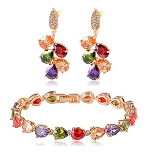 (JUNBOSI Women's 2-piece Crystal Necklace Bracelet Set Set Inlaid AAA Cubic Zircon Ornaments Crystal Bracelet High-grade Alloy Diamond Jewelry (Color : Color, Size : 17cm))