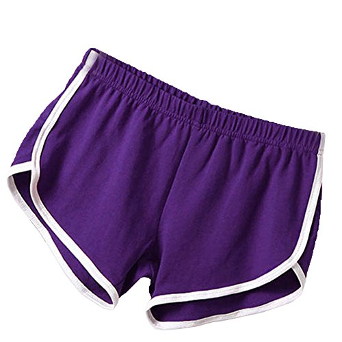 (Soly Tech Women Summer Sports Shorts Gym Workout Waistband Skinny Shorts Pants Purple)