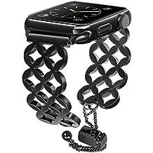 TRUMiRR Compatible Apple Watch Band 38mm 42mm Women Girls, Jewelry Bangle Watchband Bling Hollow Stainless Steel Strap Feminine Cuff Bracelet iWatch Watch Series 4 3 2 1 All Models