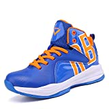 Fashion Basketball Shoes High Top Boy's Girl's Sneakers Comfortable Running Shoes Non-Slip Sport Shoes (Little Kid/Big Kid) (6.5M US Big Kid, Lucky Blue)