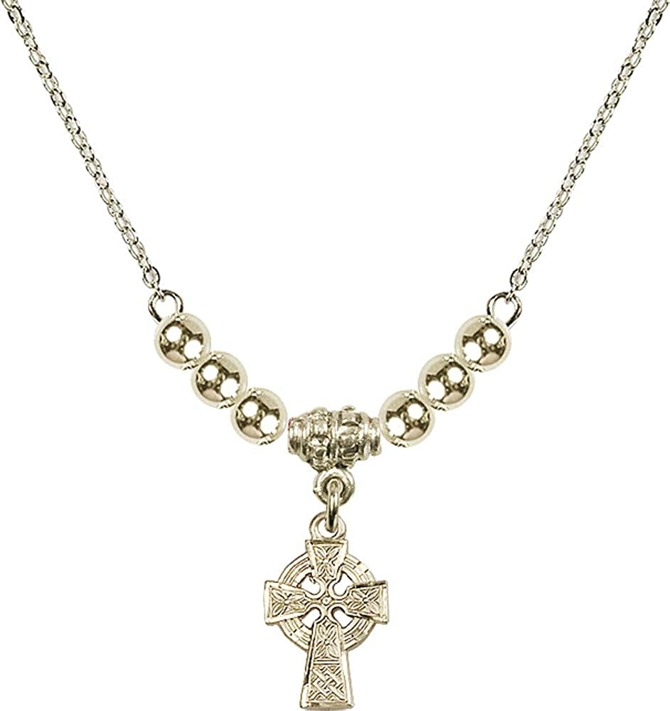 Bonyak Jewelry 18 Inch Hamilton Gold Plated Necklace w// 4mm Gold Filled Beads and Celtic Cross