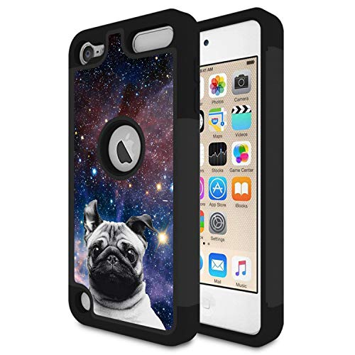 iPod Touch 6 Case,Touch 5 Case,Rossy Heavy Duty Hybrid TPU Plastic Dual Layer Armor Defender Protection Case Cover for Apple iPod Touch 5/6th,Galaxy Lovely Pug Dog