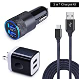 HUHUTA Car Charger Kit, Dual Port Car Charger Adapter, USB Wall Charger 6FT Nylon Braided USB C Cable Compatible Samsung Galaxy S9/S8, Note 8/Moto Z2, LG G6 G7 V20 V30, Google Pixel & More