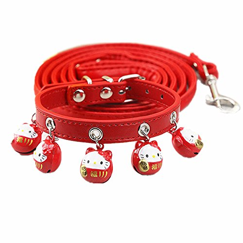 YVETEL Lovely Pets Collar with 5 Bells Suitable Cats and Small Dogs (Hello Kitty Red, S)