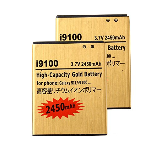 2 pcs Gold Extended Samsung Galaxy S2 SGH-i777 High Capacity Battery EB-L1A2GBA EB-F1A2GBU For Samsung Galaxy S II SGH-i777 / Samsung Galaxy S II I9100 / Samsung Galaxy S2 SGH-i777 / Samsung Galaxy S2 I9100 2450 mAh
