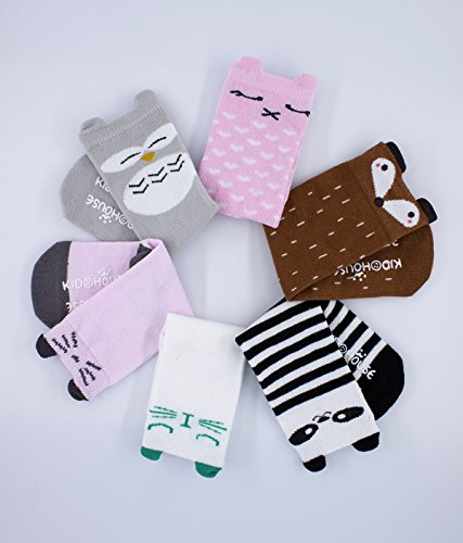 Purforlove Baby Girls Boys Socks Cartoon Animal Knee High Cotton Socks with Non Skid Rubbers 6 Pairs (S, A cat Fox) by Purforlove (Image #1)