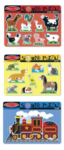 4 Item Bundle: Melissa and Doug 726 Farm Animals, 729 Train, and 730 Pets Sound Puzzles + Activity Book