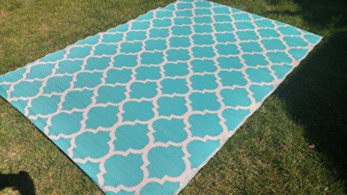 (Santa Barbara Collection 100% Recycled Plastic Outdoor Reversable Area Rug Rugs White Tirquios Trellis san1001tirquios 5'11 x 9'3 - Made in USA)