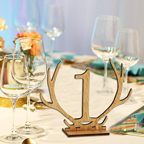 Wellinc Table Numbers 20 Pack (Number 1-20) Wedding Wood Table Numbers Unique Design Party Table Cards for Wedding Events and Banquet by Wellinc (Image #1)
