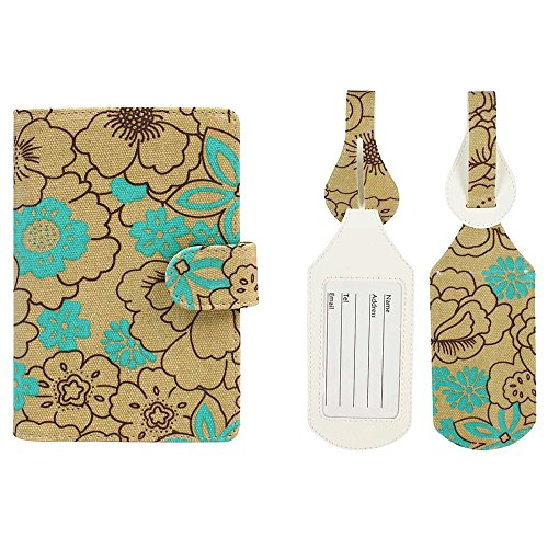 JAVOedge Poppy Turquoise RFID Blocking Passport Case with Pen Holder and 2 Matching Luggage Tags (Passport Case Multi Currency)