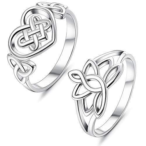 (LOLIAS Stainless Steel Promise Ring Lotus Flower Celtic Love Knot Wedding Band Ring Size 5,Silver)