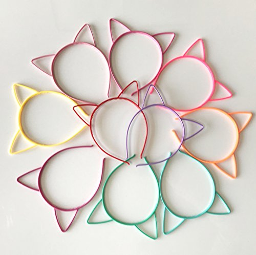 Set of 10 Cat Ear Hair band Clip Headband Kitty Hoop for Party Accessories Decoration Anniversary Festival Bouquet Gift Idea Hairpin for Cute Girl Toddler -