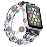 Carhope Apple Watch Band 38mm/42mm, Apple watch 3 Fashion Beaded Bracelet Women Girls Metal Chain Elastic Stretch Replacement Strap for iWatch Series 3,Series 2,Series 1 All Version (42MM-black)
