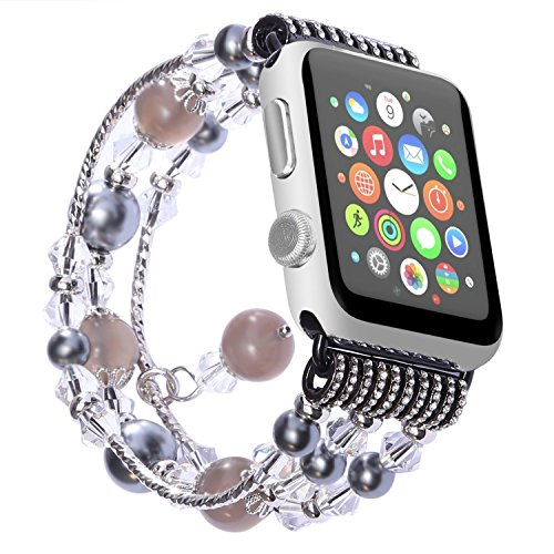 Carhope Apple Watch Band 38mm/42mm, Apple watch 3 Fashion Beaded Bracelet Women Girls Metal Chain Elastic Stretch Replacement Strap for iWatch Series 3,Series 2,Series 1 All Version (42MM-black) (Hope Bracelet Beaded)