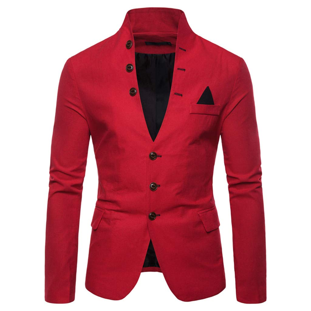 FEDULK Men's Blazer Jacket Standing Collar Long Sleeve Button Down Business Casual Slim Fit Coat(Red, Large) by FEDULK