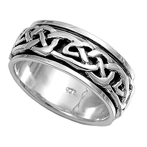 Sterling Silver Women's Men's Celtic Knot Ring Wholesale Band 8mm Size 12