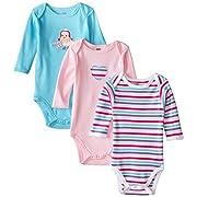 Hudson Baby Baby-Girls Long Sleeve Bodysuits, Bird, 0-3 Months (Pack of 3)
