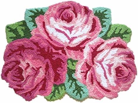 ABREEZE 3 Rose Shaped Rug Pink Roses Rug Handmade Rug Anti-Slip Mat Personalized Custom Carpets Doormat Bathroom Rug