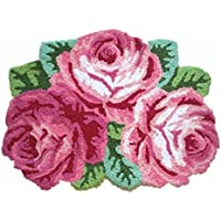 YOUSA Romantic 3 Pink Roses Rug for Living Room Anti-slip Door Mat 31.5x23.6