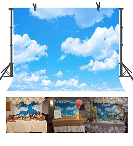 FUERMOR Background 7x5ft Blue Sky White Clouds Photography Backdrop Photo Studio Props Room Mural RQ021