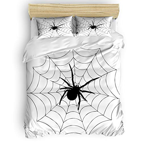 3-Piece Bedding Sets, Happy Halloween Spider Web Comforter Set - Duvet Cover, Bed Sheets, Pillow Cases for Childrens/Kids/Teens/Adults, Full Size]()