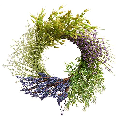 PINE AND PAINT LLC Lavender Herb Wreath 20 Inch Artificial on Natural Twig Base Ring