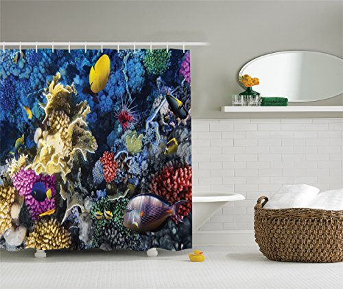 Ambesonne Ocean Decor Collection, Colorful Corals and Fishes Colony in the Red Sea Egypt Africa Picture, Polyester Fabric Bathroom Shower Curtain Set with Hooks, 75 Inches Long, Navy Red Purple (Navy Coral Picture)
