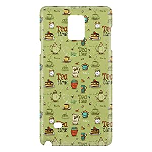 Loud Universe Samsung Galaxy Note 4 3D Wrap Around Tea Time Print Cover - Green