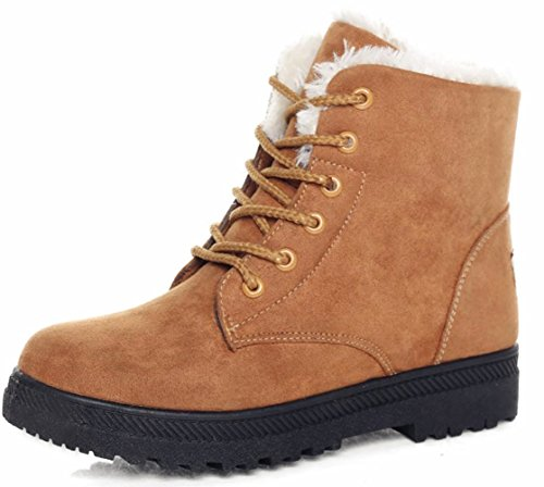 DADAWEN Women's Suede Waterproof Lace Up Winter High Top Snow Boots Khaki US Size (Womens Ultra Desert Boot)