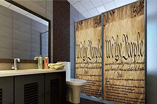 Horrisophie dodo No Glue Static Cling Glass Sticker,United States,Vintage Constitution Text of America National Glory Fourth of July Image,Light Brown,39.37