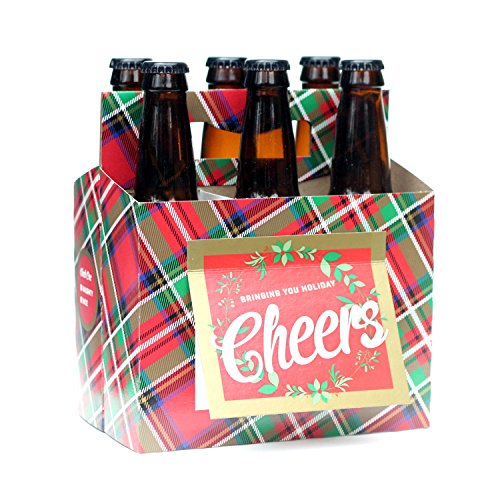 Holiday Beer Lovers Gifts - 6 Pack Beer Carrier Greeting Cards (Set of 4) in Holiday Plaid Design - Best Christmas Gifts for Men, Office Christmas Party, Corporate Holiday Gifts, Holiday Gifts for Dad (Wine Gift Cards)