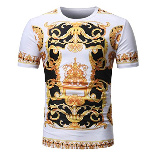 Men T-Shirt Summer Casual African Print Tops O Neck Pullover Short Sleeve -