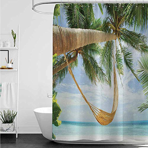 Kids Bathroom Shower Curtain,Beach View of Nice Hammock with Palms by The Ocean Sandy Shore Exotic Artsy Print,Waterproof Colorful Funny,W108x72L,Green Cream Blue
