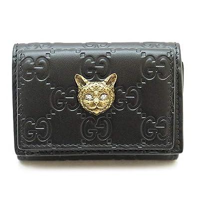 493f61f7a070 Amazon   [グッチ] 折財布 GUCCI 548065 0G6FT 1081 ミニウォレット キャット グッチ シグネチャー レザー ブラック  [並行輸入品]   財布