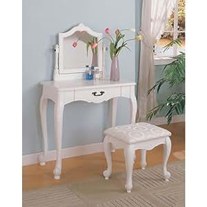 Coaster 300076 Vanity Set with Center Drawer, White