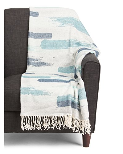 Newport Cynthia Rowley Cotton Decorative Fringe Woven Throw Blanket Toss Abstract Geometric Stripes in Shades of Blue Green Gray