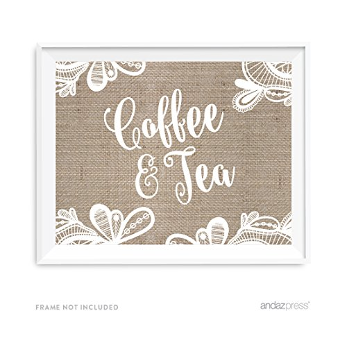 Andaz Press Burlap Lace Print Wedding Collection, Party Signs, Tea & Coffee Reception Dessert Table Sign, 8.5x11-inch, 1-Pack
