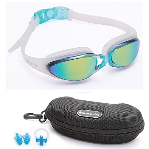 Adult Swim goggles by Bezzee-Pro UV Protected Anti Fog Coated Color Mirrored Lens with Silicone eye Cups Leak Proof Best Pool Glass for Swimming with Quality Goggle Case Nose Clip, - Pool Best Swimming Goggles