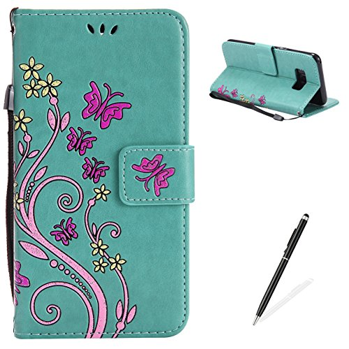 Ballet Embossed Wallet - Samsung Galaxy S8 Case,MAGQI Premium Slim Fit Flip PU Leather Stand Wallet Book Style Case with Card Slots Magnetic Closure Embossed Rose Flower Butterfly Pattern Cover - Green