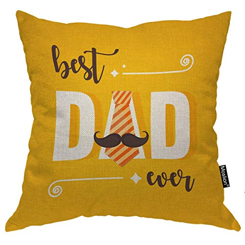 Moslion Word Pillow Cover Happy Father's Day Quote Best Dad Ever Tie Beard Stars Throw Pillow Case 18x18 Inch Cotton Linen Canvas Square Cushion Decorative Cover for Sofa Bed