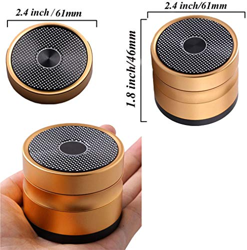 4 Piece Premium Aluminum Herb Grinders,Speaker Pattern Metal Tobacco Grinder with Sifter and Magnetic Top,2.4inch(Gold)