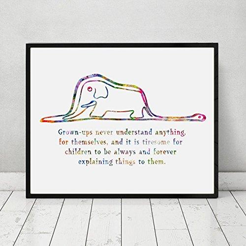 Citaten Uit Le Petit Prince : The little prince boa and elephant quote watercolor art