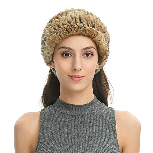 Rabbit Fur Rex Headband - Ferand Women's Soft Real Rex Rabbit Fur Knitted Headband, Dual-use as Warm Snood Scarf for Winter