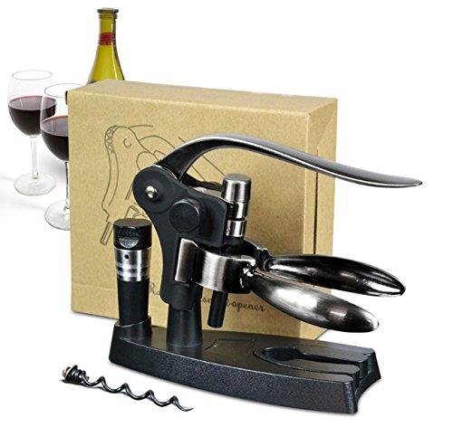 Multifunctional Wine Opener,Elegant Black Corkscrew Tool Kits,Bottle Opener+Foil Cutter+Wine Stopper+Extra Spiral+Stand,For Sommeliers/Waiters/Bartenders
