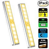Closet Light, Dinly 10-LED Motion Sensor light Built-in Rechargeable Battery Magnetic Stick-on Anywhere Wireless Under Cabinet Light for Wardrobe/Hallway/Stairway/Closet/Cabinet, 2-Packs (Warm White)
