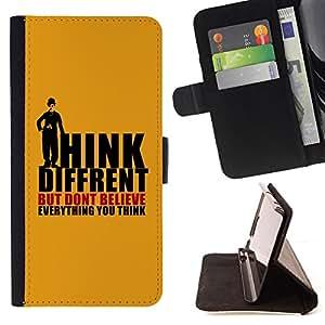BullDog Case - FOR/Apple Iphone 4 / 4S / - / thoughts different quote belief mind /- Monedero de cuero de la PU Llevar cubierta de la caja con el ID Credit Card Slots Flip funda de cuer