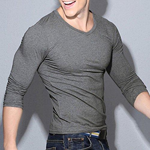 v en Camisa oto Camiseta o de con b deportiva larga Medias manga de hombre de cuello rqOn8rP7w