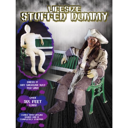 Life-Size Halloween Stuffed Dummy with Lifelike Hands, 6-ft Tall White (1) ()