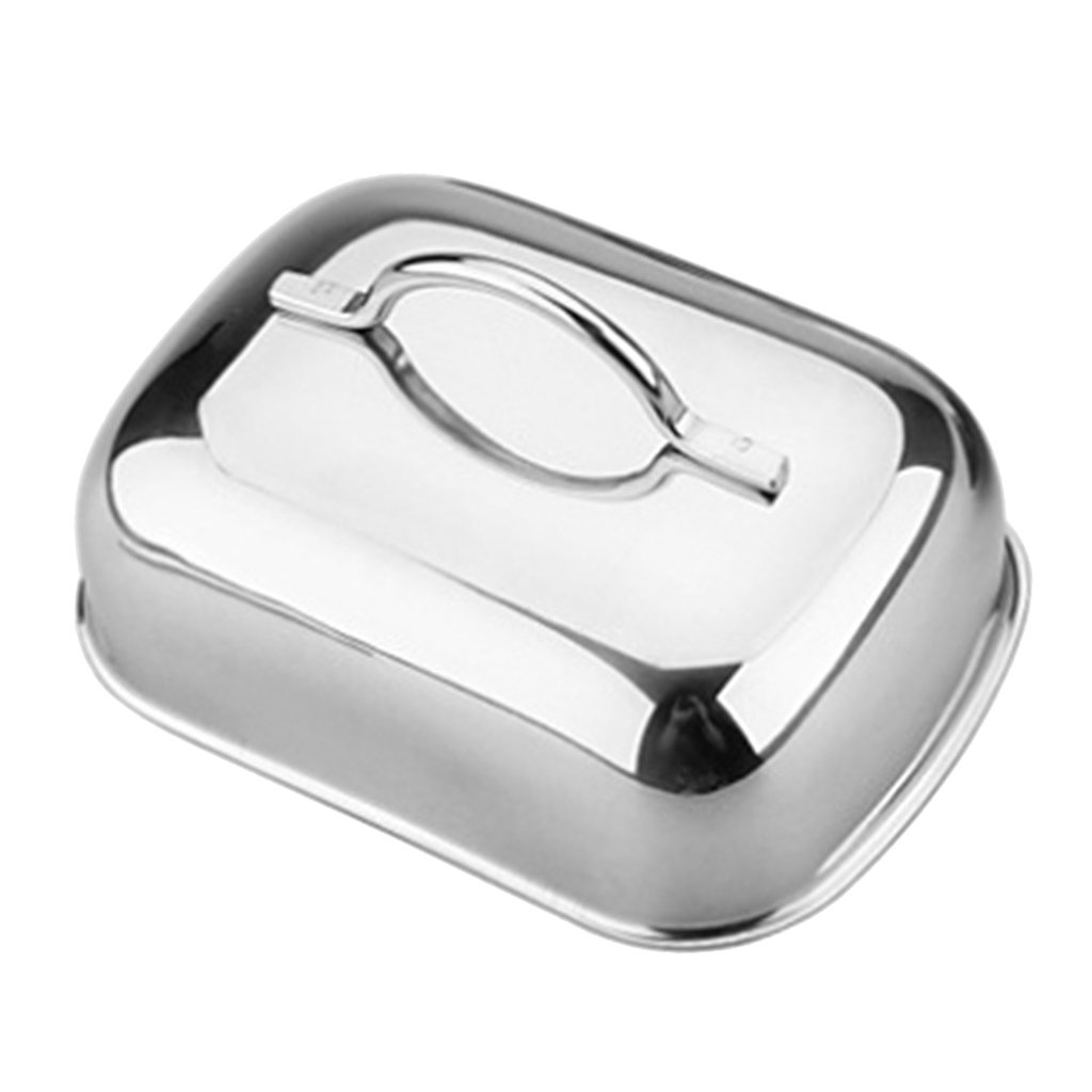 MagiDeal Kitchen Craft Traditional Stainless Steel Butter Dish Box with Lid Handle
